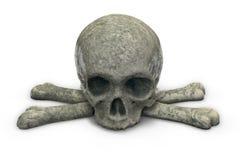 3D render of stone skull and crossbones isolated on white. Background stock illustration