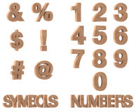 3D Render of Stone Symbols and Numbers Stock Photography