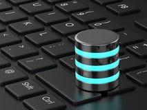 3d render of storage database on keyboard Stock Photos