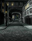 Street at Night with 19th Century City Buildings. 3D render of street scene at night with 19th century city buildings Royalty Free Stock Photo