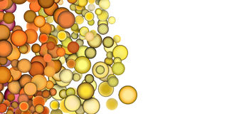 3d render strings of floating balls in multiple orange yellow Stock Photo