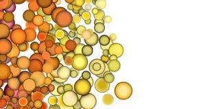 3d render strings of floating balls in multiple orange yellow. Strings of floating balls in multiple orange yellow Stock Photo