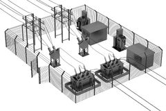 3d render of substation Stock Photography