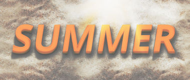3d render summer beach bold font. Graphic 3d illustration Royalty Free Stock Image