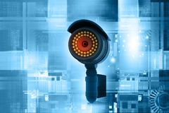 3d render of Surveillance camera. Technology background Stock Images