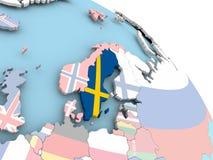Flag of Sweden on globe. 3D render of Sweden with flag on bright globe. 3D illustration Royalty Free Stock Photo
