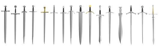 3d render of swords royalty free illustration