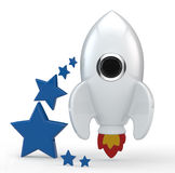 3D render of a symbolic white rocket with flames. 3D render of a symbolic white rocket with six blue stars on its left. The rocket is painted in white and has Stock Illustration