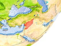 Map of Syria on Earth. 3D render of Syria on political globe with embossed countries with real land surface and water in place of ocean. 3D illustration Stock Photo