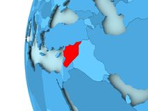 Map of Syria. 3D render of Syria in red on blue political globe. 3D illustration Stock Photos