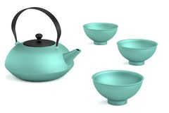 3d render of tea set Stock Photos