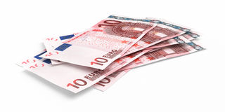 3d render Ten euro banknotes. Close-up ( on white and clipping path royalty free illustration