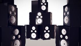3D render of Thumping Bass Speakers. Royalty Free Stock Photo