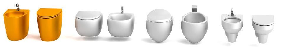 3d render of toilet with bidet Royalty Free Stock Image