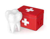 3d render of tooth with first aid kit. Isolated on white background Stock Photography