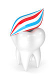 3d render of tooth with toothpaste Stock Photos