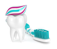3d render of toothbrush, toothpaste and tooth Royalty Free Stock Photo