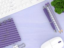 3d render of top view workspace with office tools. Lying on wooden desk. Empty space for text Royalty Free Stock Image