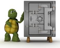 Tortoise with bank vault Royalty Free Stock Image
