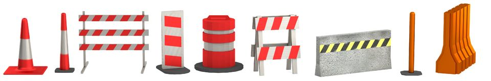 3d render of traffic barriers Stock Images
