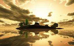 3D render tranquil island at sunset Royalty Free Stock Images