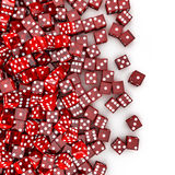 Red dice spill. 3D render of transparent red dice spilling on to white background Royalty Free Stock Image