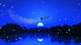 3D tree landscape against a night sky with santa and his reindee. 3D render of a tree landscape against a night sky with santa and his reindeers stock illustration