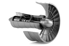 3d render of turbine - airplane Royalty Free Stock Image