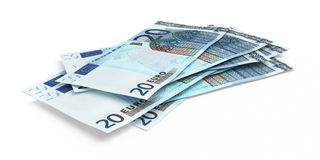 3d render Twenty Euro banknotes. Close-up ( on white and clipping path royalty free illustration