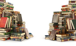 3d render of two big piles of colorful books. On the sides, isolated on a white background Stock Photo