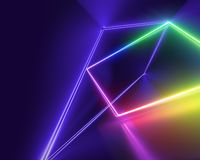 Ultraviolet neon lines, laser show, night club interior lights, colorful glowing shapes, abstract fluorescent background. 3d render of ultraviolet neon lines royalty free illustration