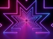 3d render, ultraviolet neon star shape, glowing lines, tunnel, virtual reality, abstract fashion background, violet purple pink royalty free illustration