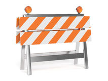 3d render of under construction barrier with road cones Stock Photography