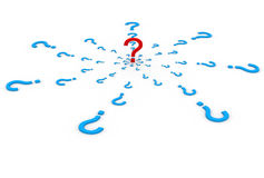 3d render of unique question encircle by other question mark symbols Stock Photography
