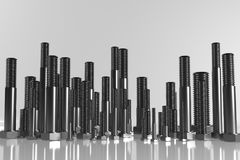 A 3D render of various metric bolts standing in a row. Shiny dark metal materials Royalty Free Stock Image