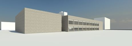 3D render - view to the modern building stock illustration