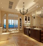 3d render of vintage bathroom. With jacuzzi Stock Images