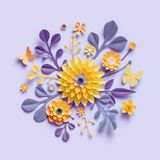 3d render, violet yellow craft paper flowers, botanical background, floral arrangement, festive bouquet, isolated clip art stock illustration