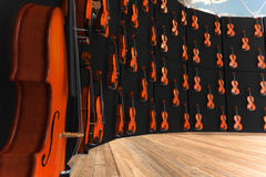 Violins hung on the wall. 3d render of Violins hung on the wall Royalty Free Stock Photography