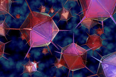 3D render virus cells. 3D render virus cells science and medical concept Stock Images