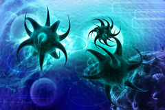 3d render virus. In dark colour background Royalty Free Stock Photos