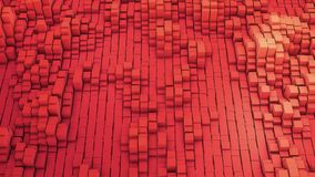 3D render VJ red background of the many white squares. 4k Royalty Free Stock Photos