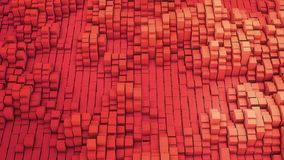 3D render VJ red background of the many white squares. 4k Royalty Free Stock Photo