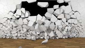 3d render Wall and broken wall with black background Stock Images