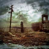 Destroyed war city background Royalty Free Stock Photo