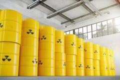 3d render - warehouse with atom barrels royalty free illustration