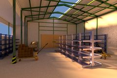 3d render of warehouse Royalty Free Stock Image