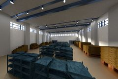 3d render of warehouse Stock Photo