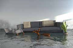 3d render - Water damager. After flooding in house with furniture floating Stock Image