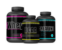 3d render of whey, BCAA and creatine bottles Royalty Free Stock Photos